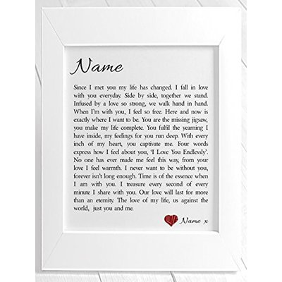 Personalised Love Poem Framed Print You Me Birthday Christmas Valentine S Day Anniversary Wedding Personalised Details During The Order Process White Buyposters